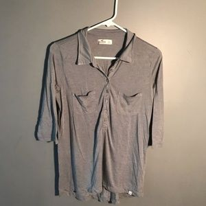 Hollister Half Sleeve Half Button Blouse Gray